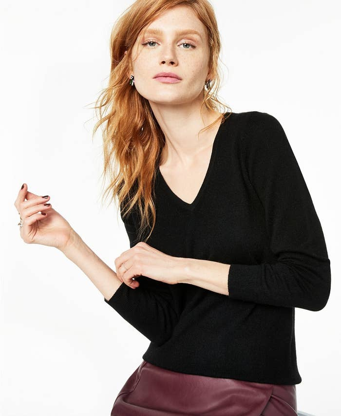 model wearing Charter Club cashmere v-neck sweater in black