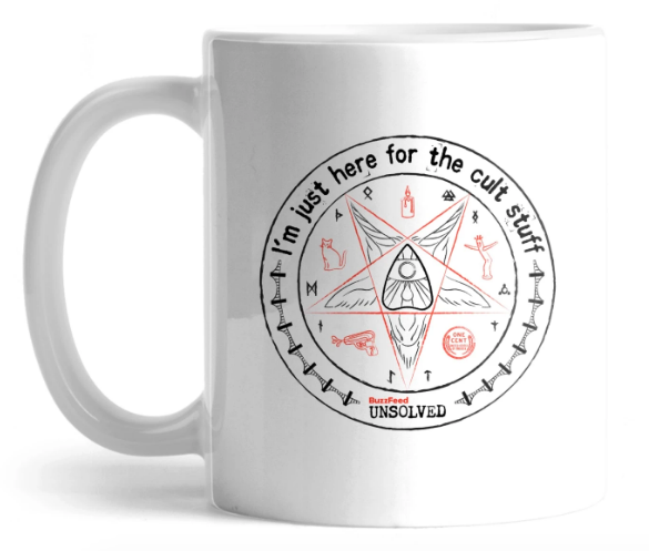 "Pentagram mug that says ""I'm just here for the cult stuff"""