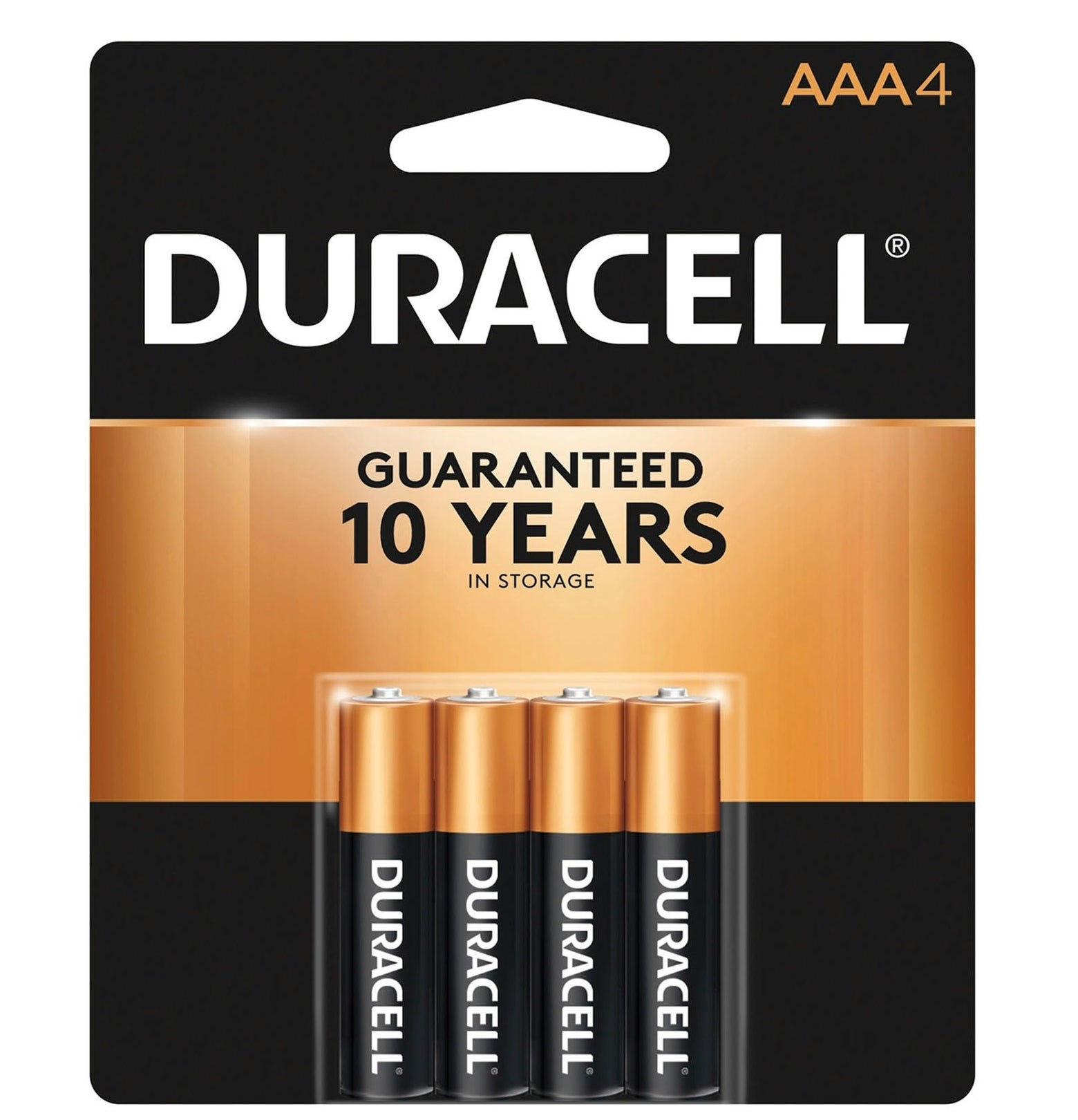 The four-pack of batteries which says they're guaranteed to last up to 10 years in storage