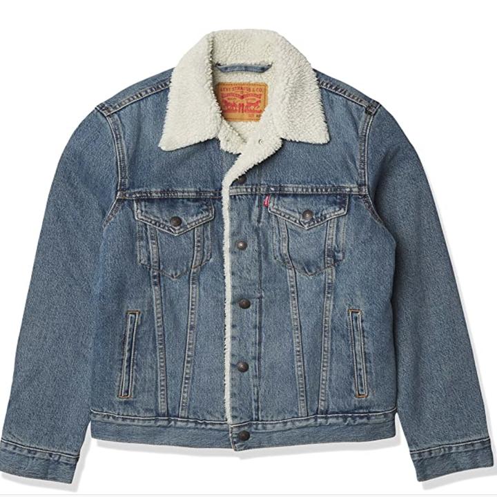 denim jacket with ivory sherpa lining