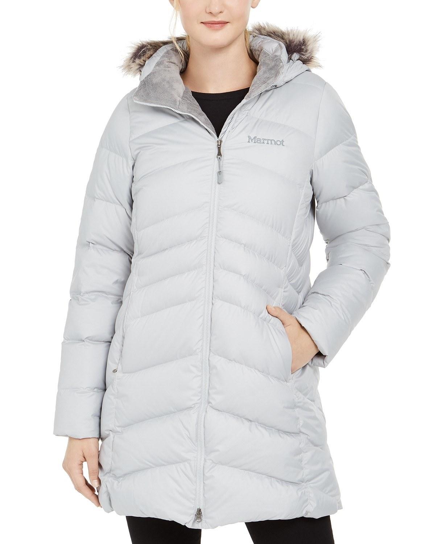 model wearing Marmot Montreal parka in bright steel
