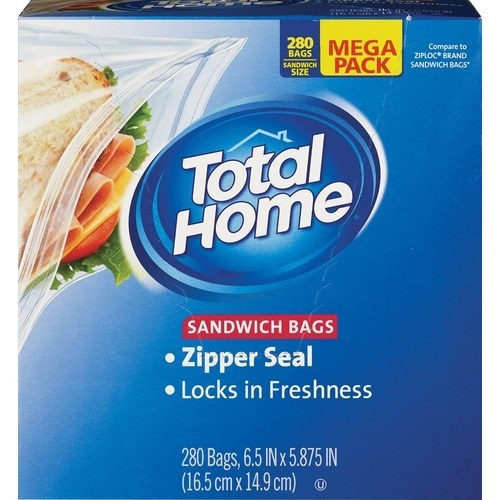 The blue box of sandwich bags which says they're zipper sealed for freshness