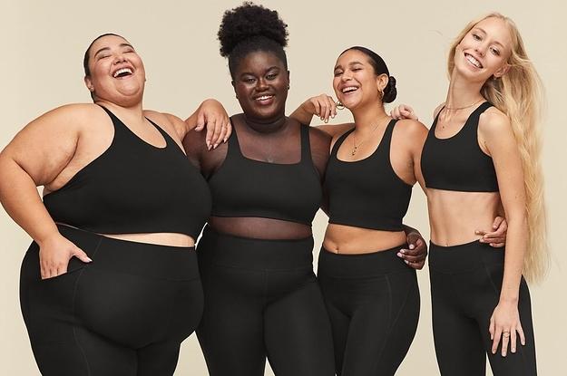 models wearing matching black leggings and sports bras