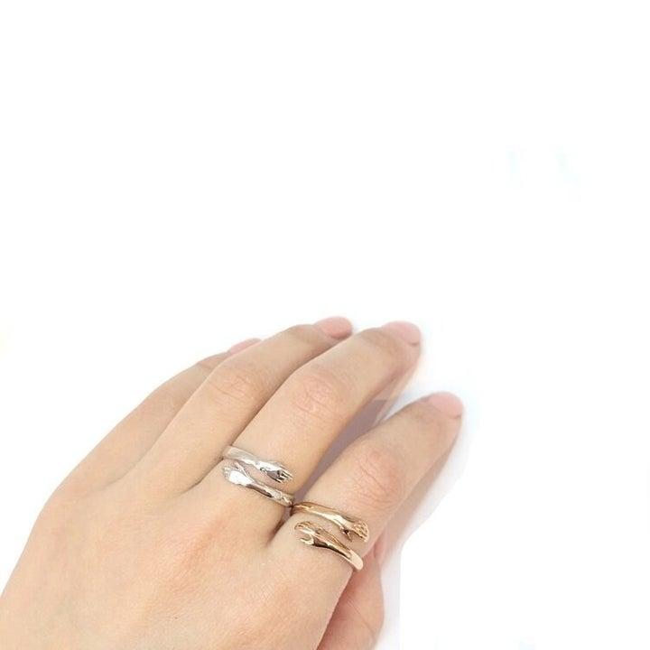model wearing hand adjustable ring