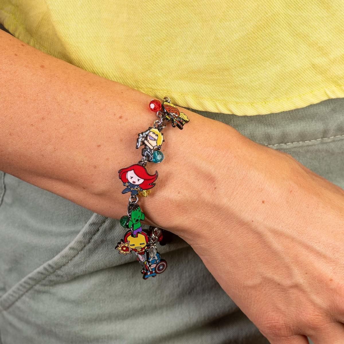 model wearing an Avengers charm bracelet