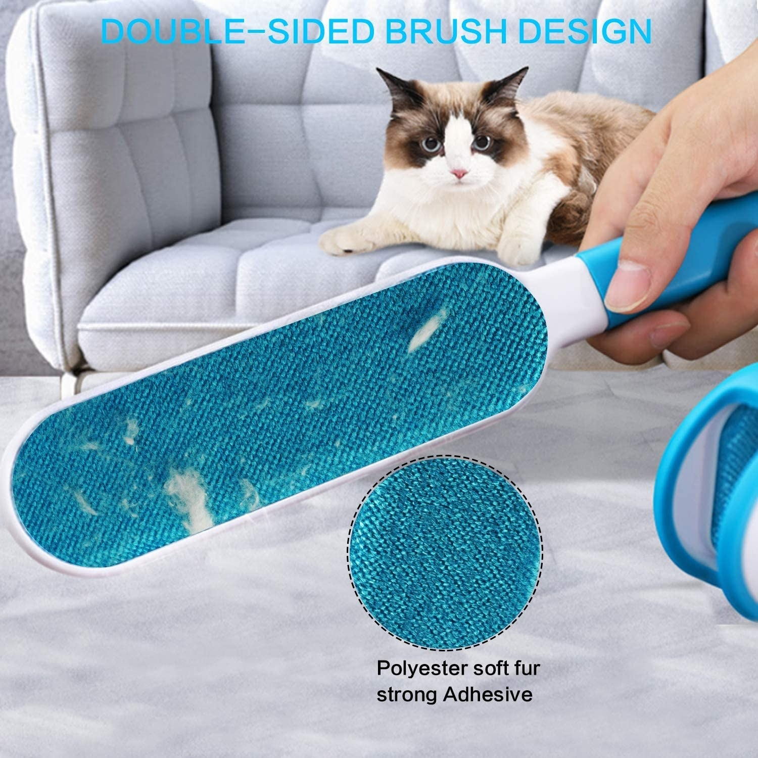 Blue wand-shaped hair removal tool picking up cat hair