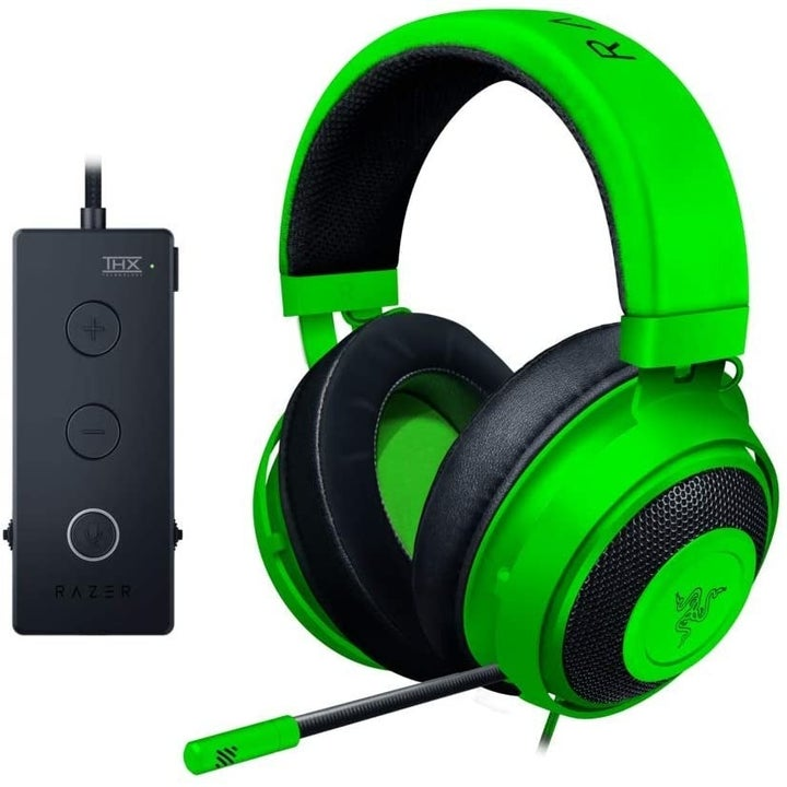 A pair of green headphones with a mic