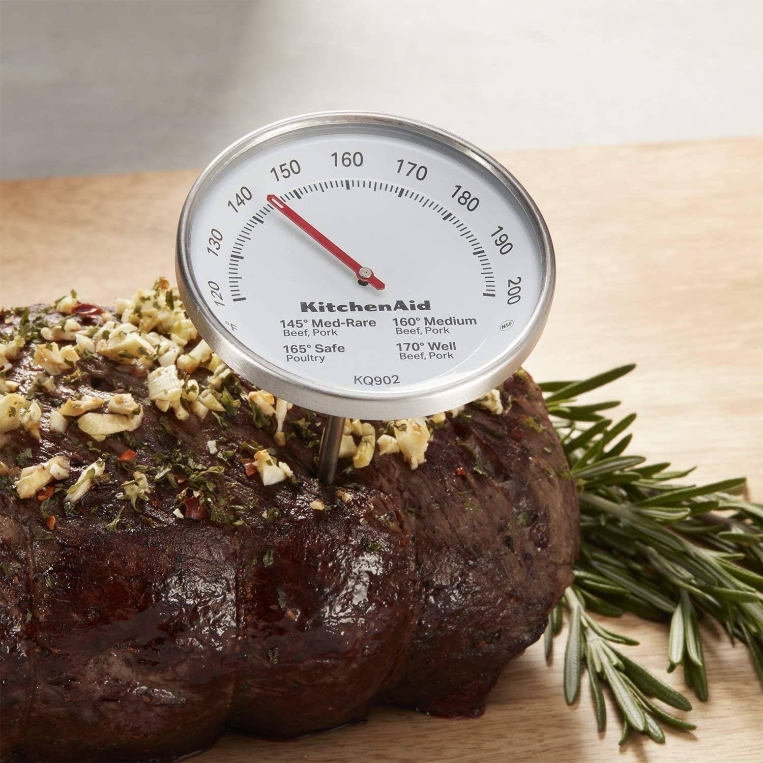 A thermometer in a roast