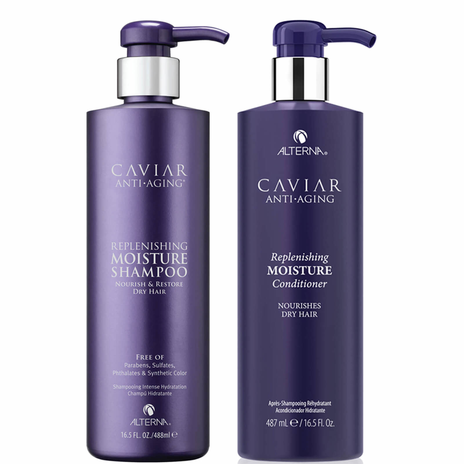 Side by side purple bottles of replenishing moisture shampoo and conditioner
