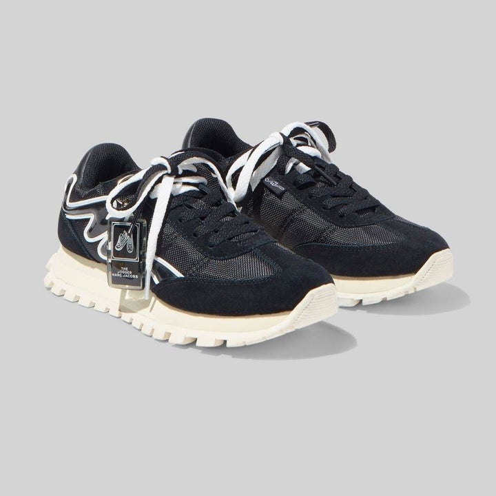 black and white lace-up sneakers