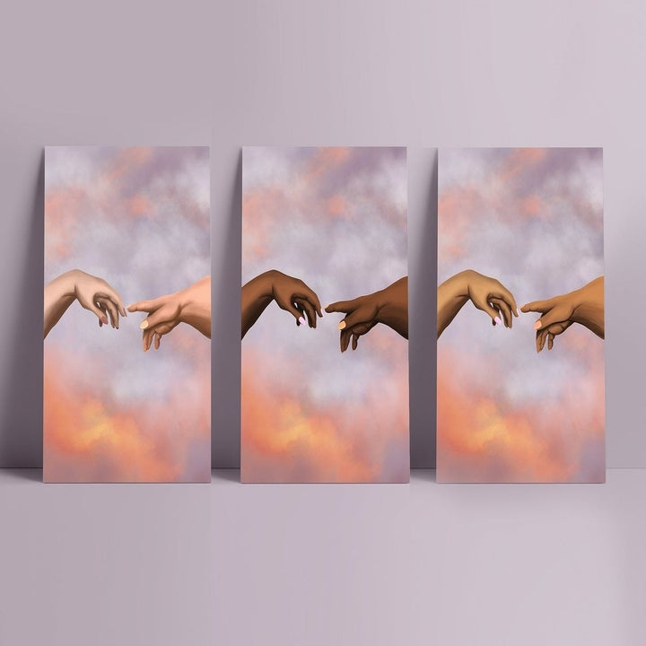 "wall art with cloud background and two hands of black people reaching out to each other like da Vinci's famous ""Creation of Adam"" painting. There are three versions side-by-side in different skin tones"