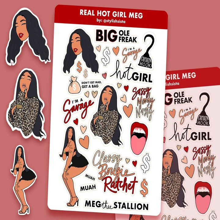 "sheet of illustrated Megan Thee Stallion stickers with images of Megan, her famous tongue face, and some of her popular sayings like ""Classy Bougie Rachet"" and ""Big Ole Freak"""