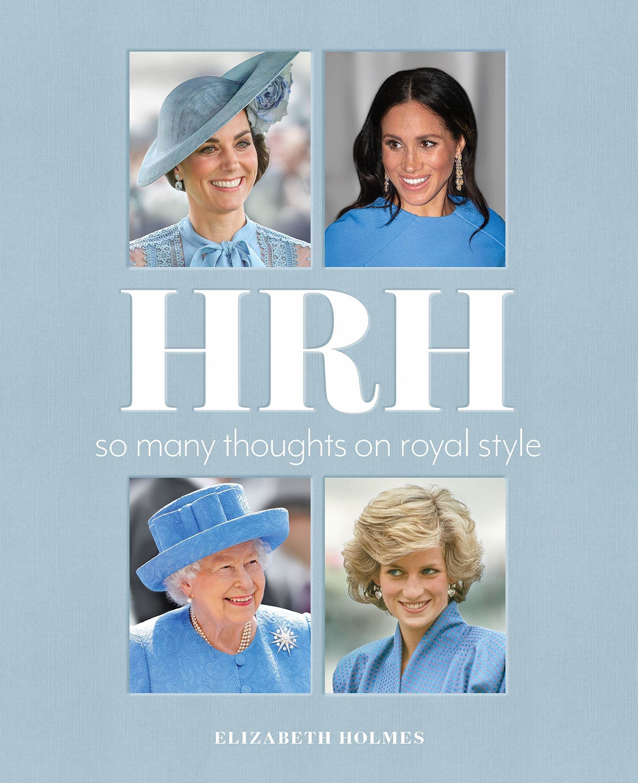 the light blue cover of the book with images of diana, the queen, meghan, and kate