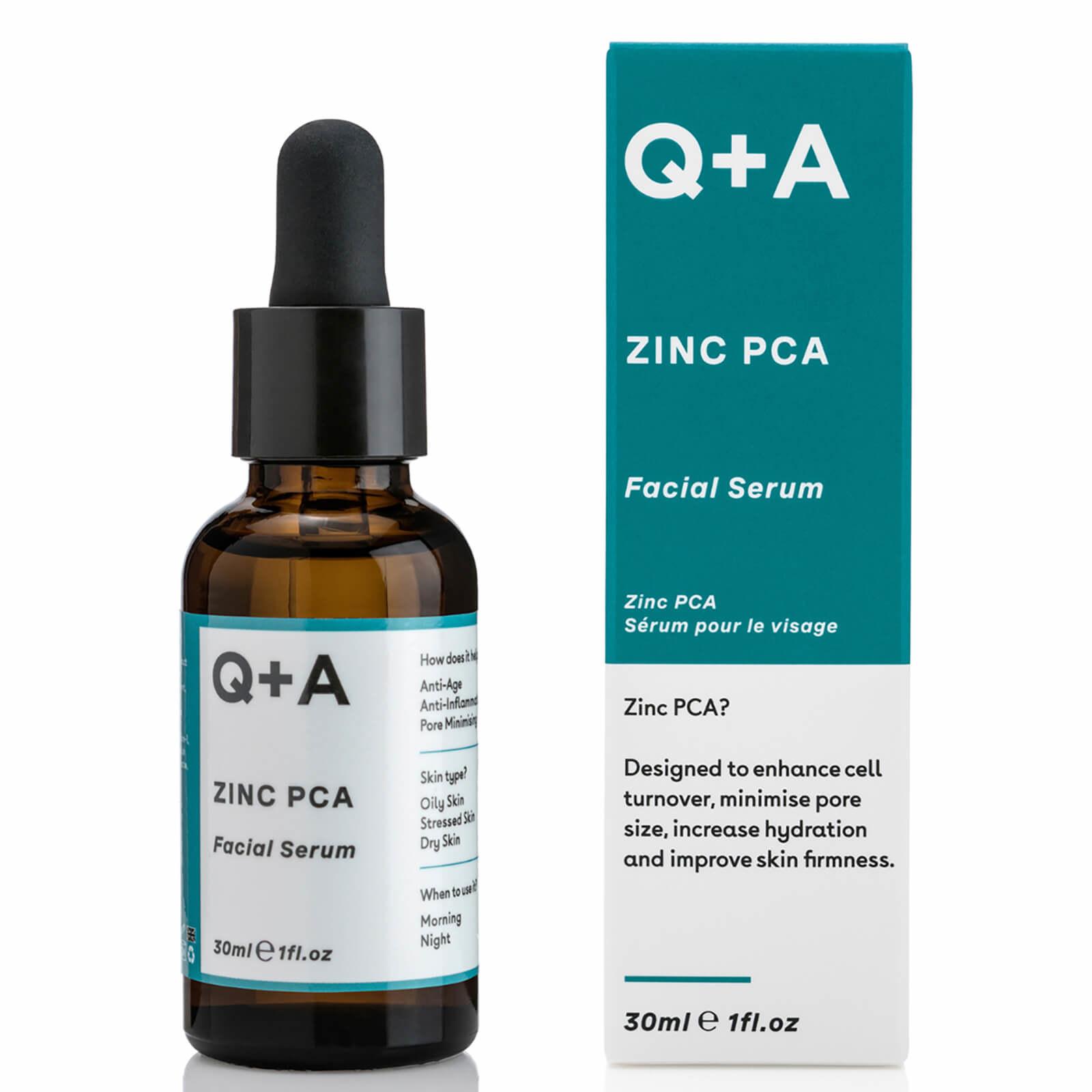 Q+A Zinc facial serum bottle beside its packaging