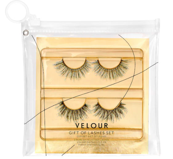 A set two long false eyelashes in a pouch