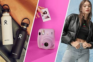 Two water bottles on rolls of fabric, An instant camera with a person's hand holding a photograph above it, A person wearing a faux leather bomber jacket