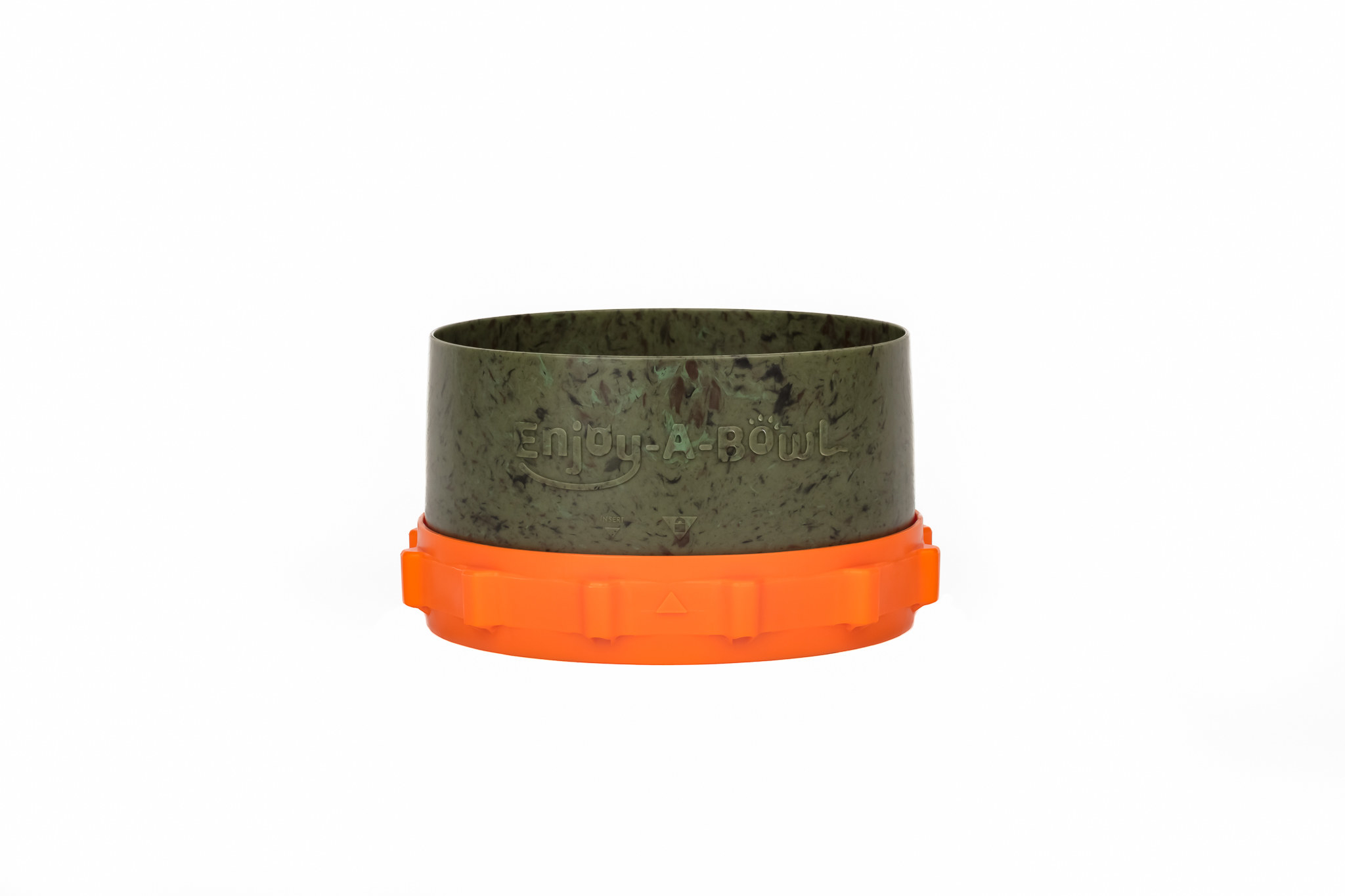 small green pet food bowl with a removable orange compartment on the bottom