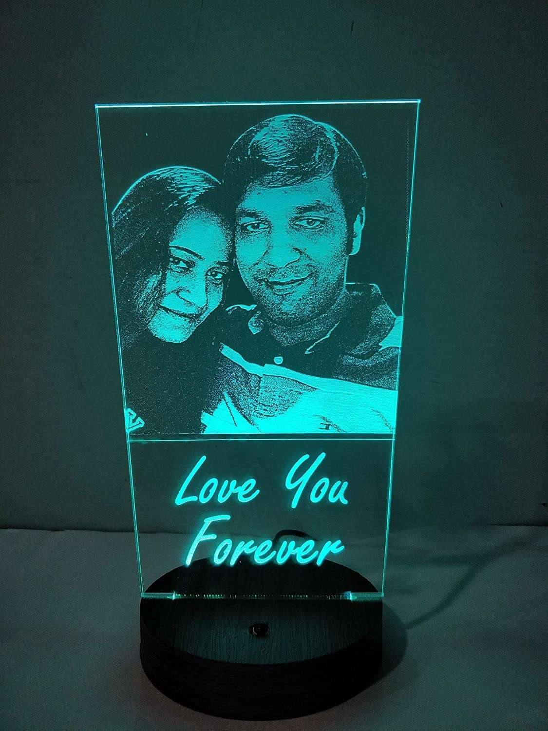 "LED lamp with an image of a couple and ""Love You Forever"" on it."