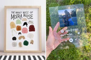 on left a Moira Rose wig art print and on right a clear Spotify album cover