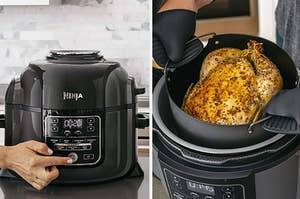 On the left, black Ninja Foodi pressure cooker. On the right, roasted chicken inside Ninja Foodi