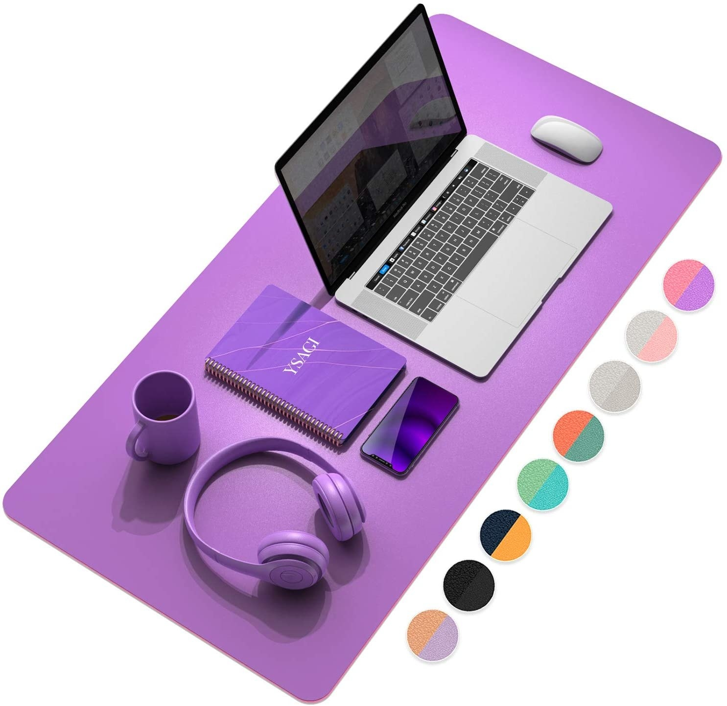 purple desk mat with a laptop and mouse on it
