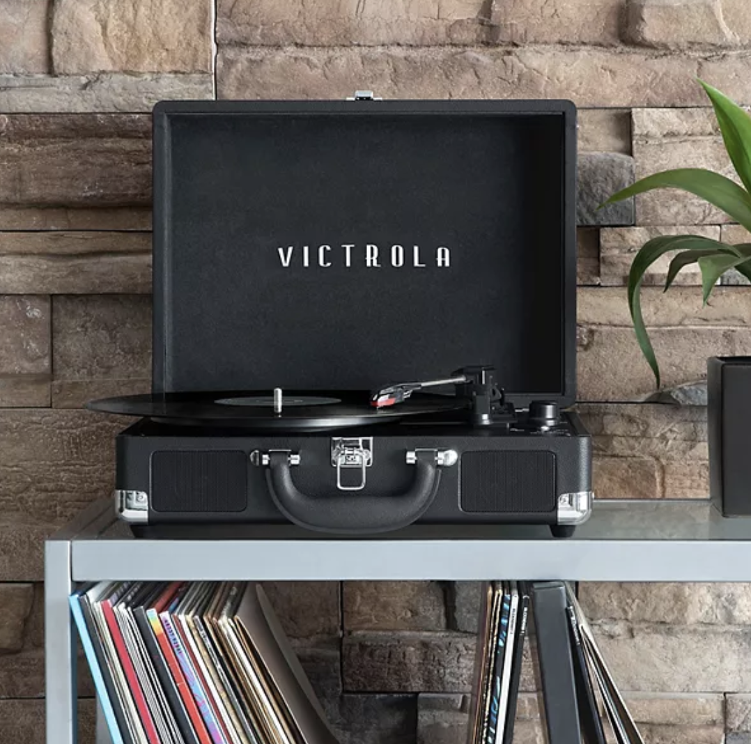 Victrola record player in black