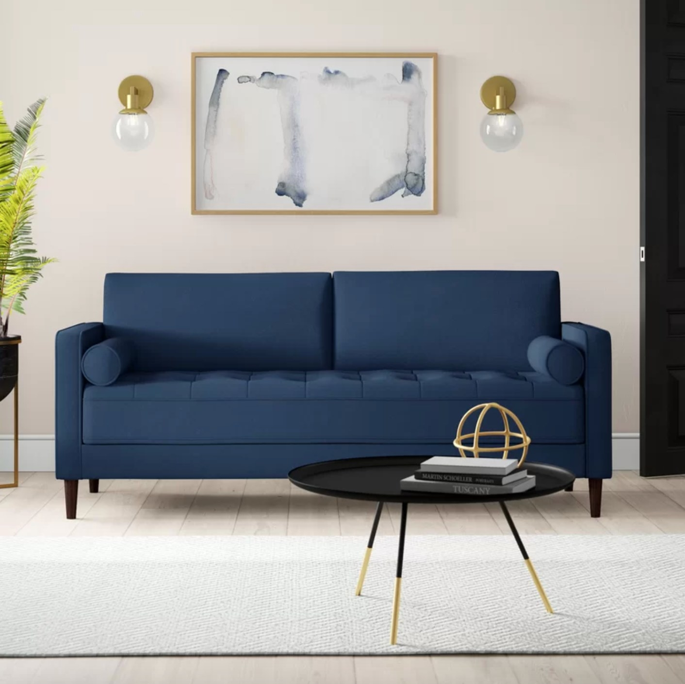 The square arm sofa in navy blue