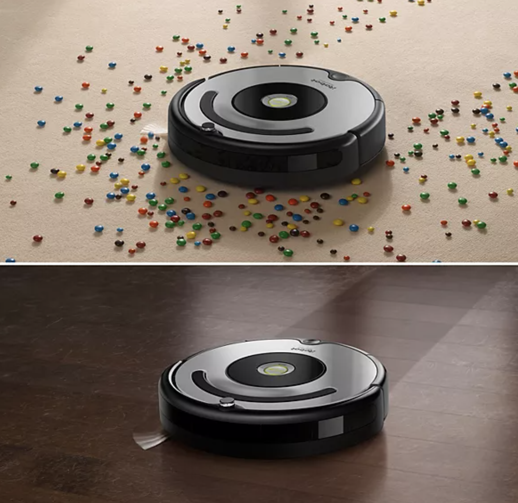 Mess before and after using Roomba