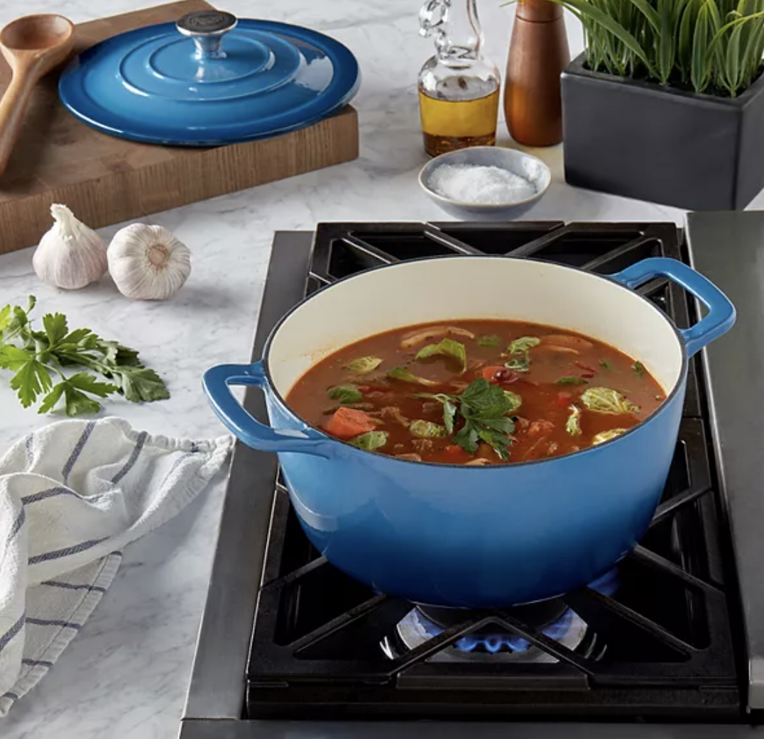 Food Network Cast-Iron Dutch Oven in blue