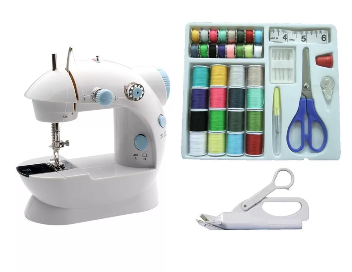 Mini sewing machine with sewing kit and electrical scissors