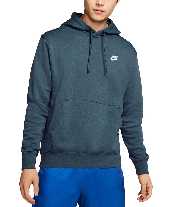 model wearing Nike fleece pullover hoodie