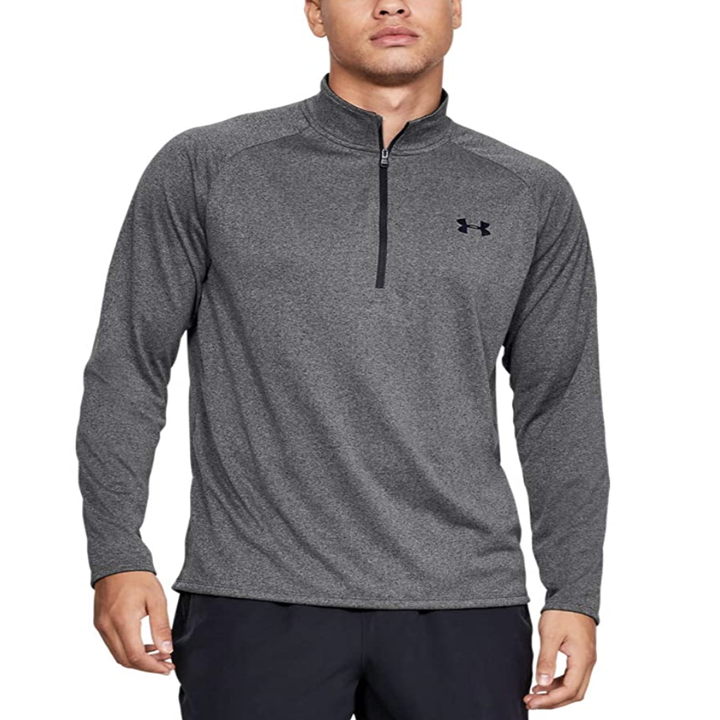 Model in gray quarter zip pullover