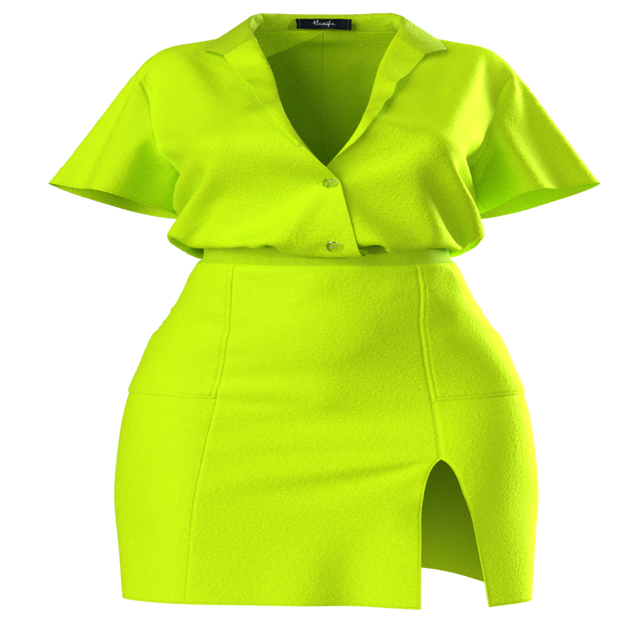 lime green mini dress with side slit