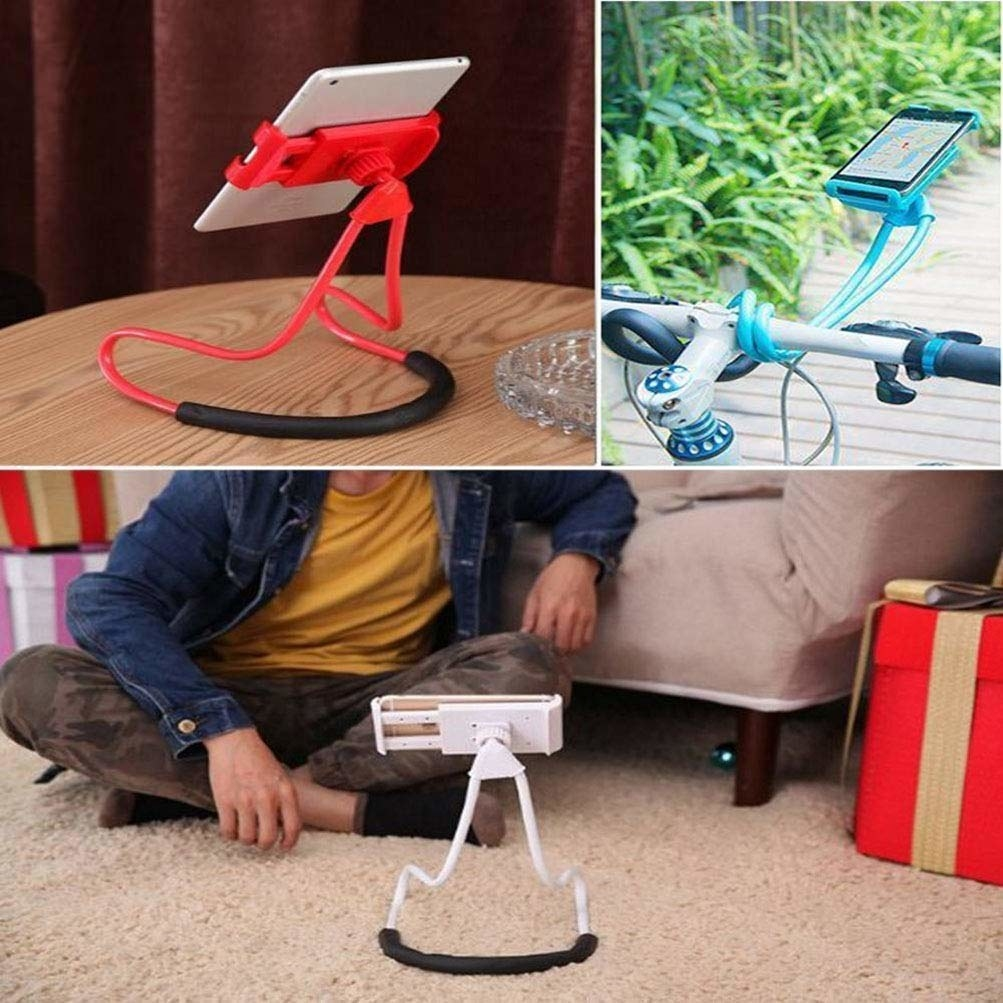 Various use-cases of the mobile holder, such as kept on the table, the floor, and attached to a bicycle for navigation.
