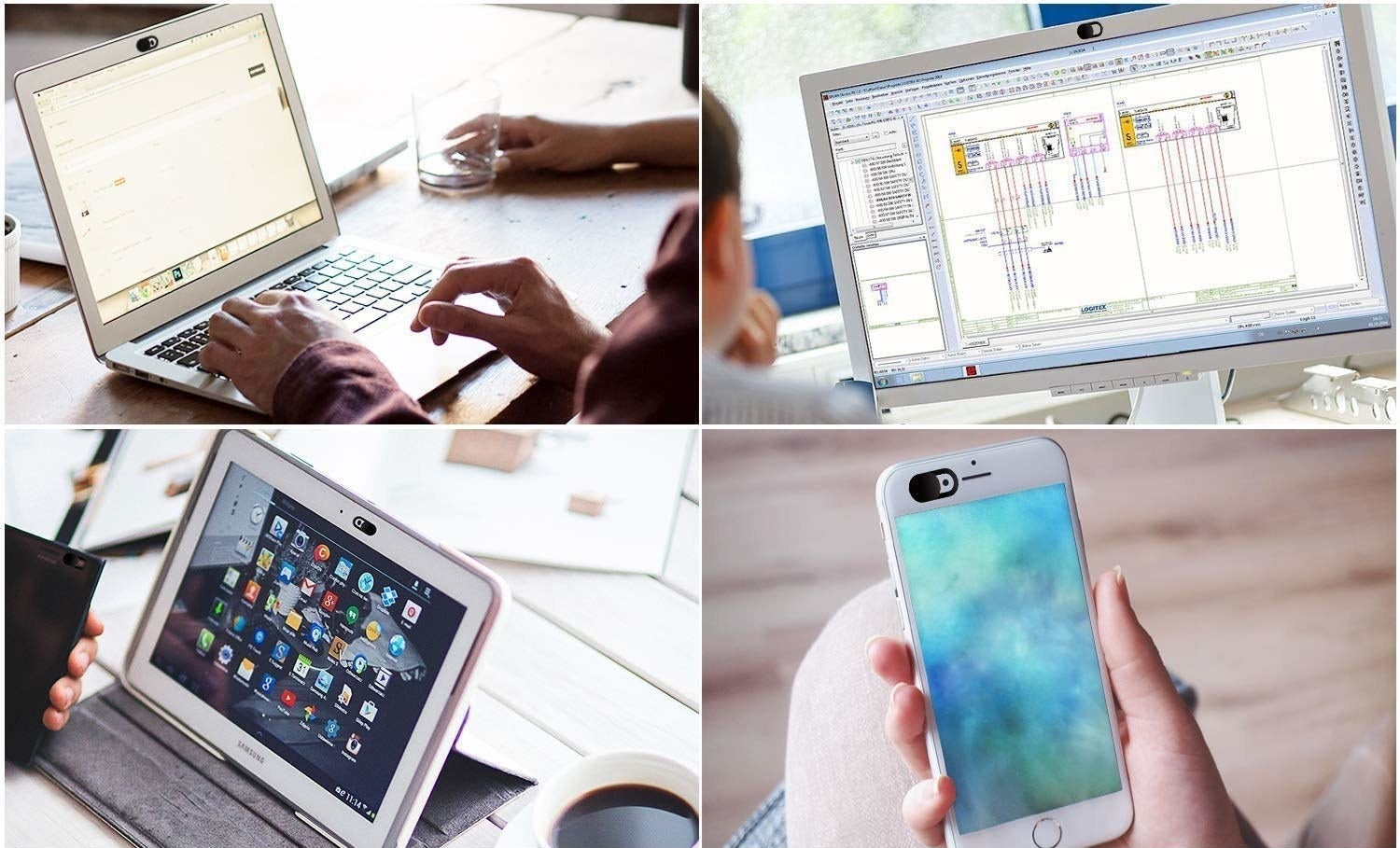 Various devices you can use the webcam slider on, such as an iPhone, laptop, iPad.