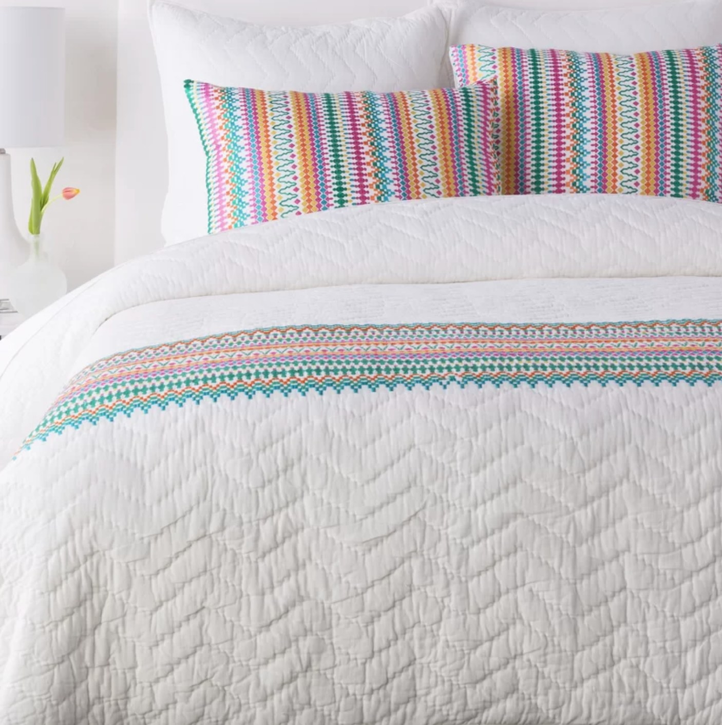 The colorful quilt on a bed