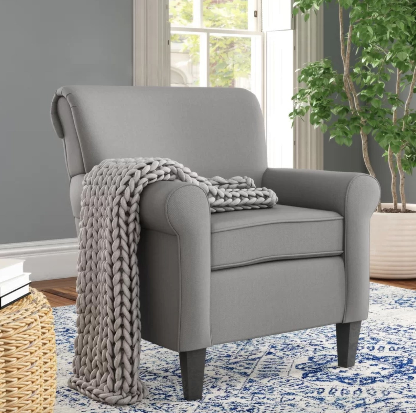 The arm chair in gray