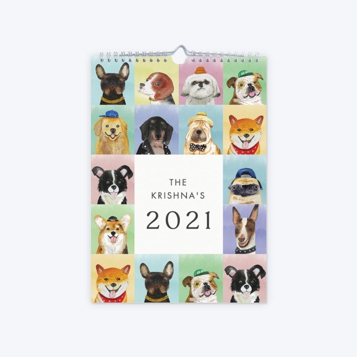 wall calendar with illustrations of dogs on it