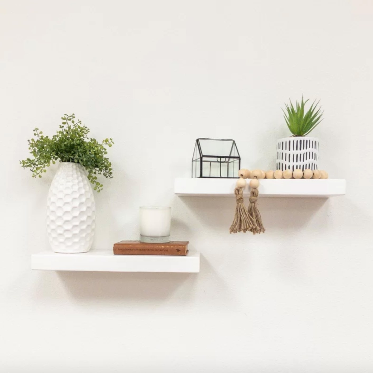 The set of two floating shelves in white
