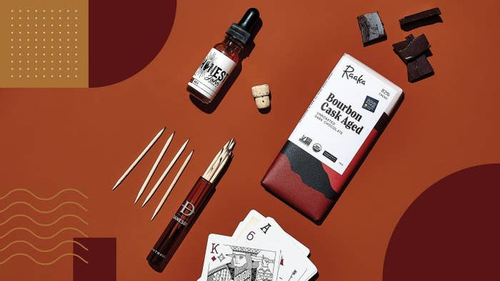 Chocolate, toothpicks, drop bottle, and playing cards