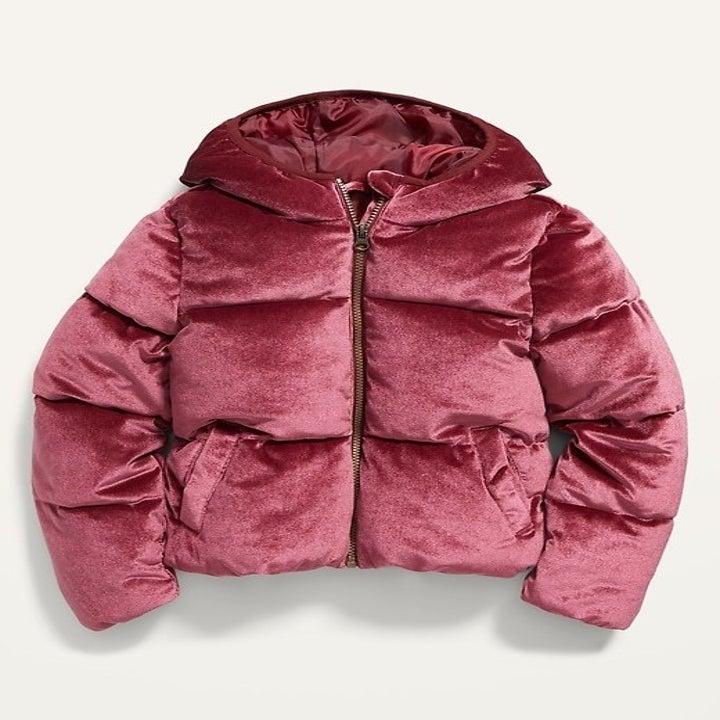 The velvet puffer coat in burgundy