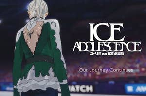 """The poster for the """"Yuri On Ice"""" movie showing the back of Victor"""