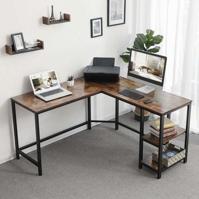 the brown and black desk