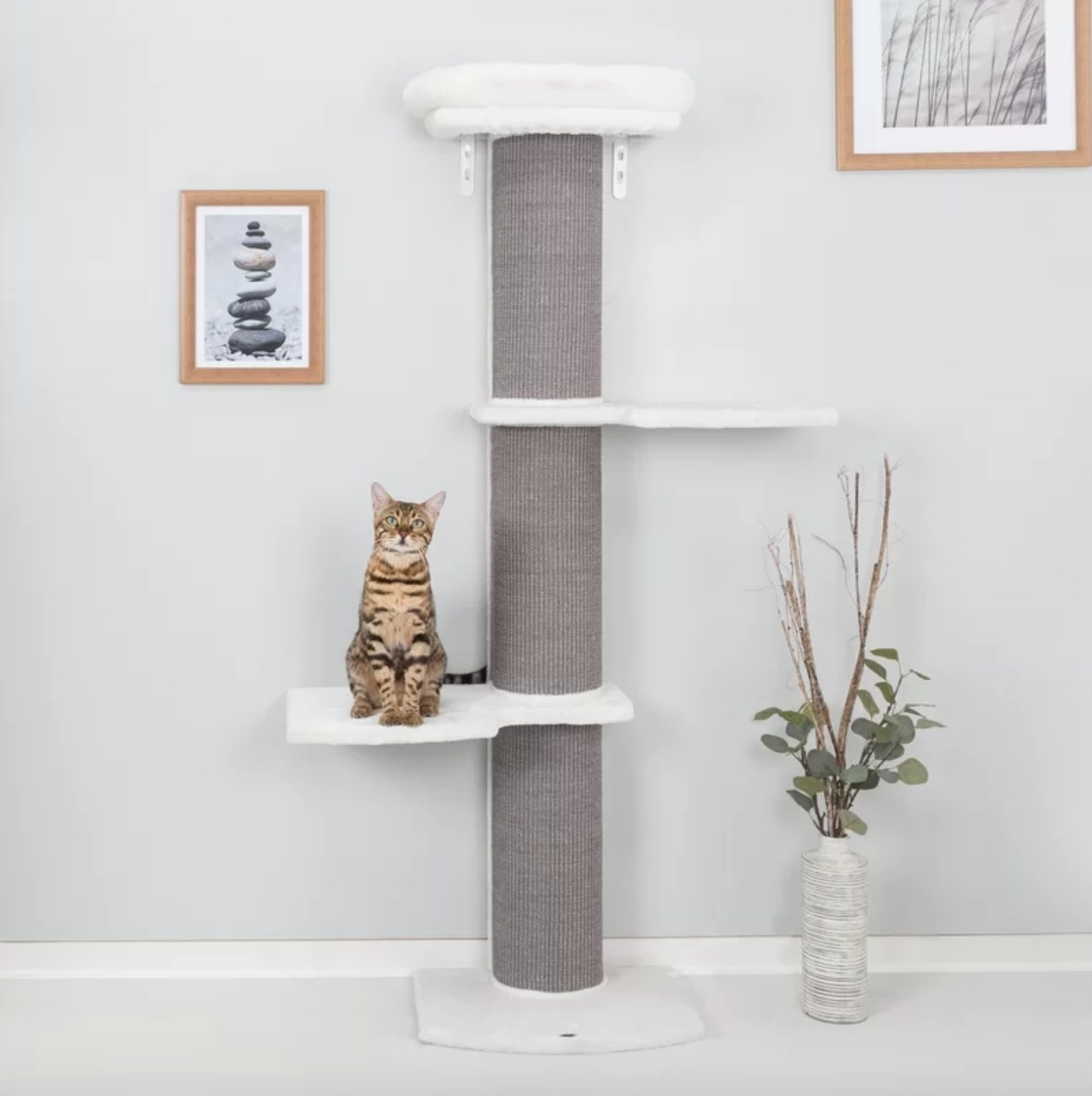The cat tree in white and gray
