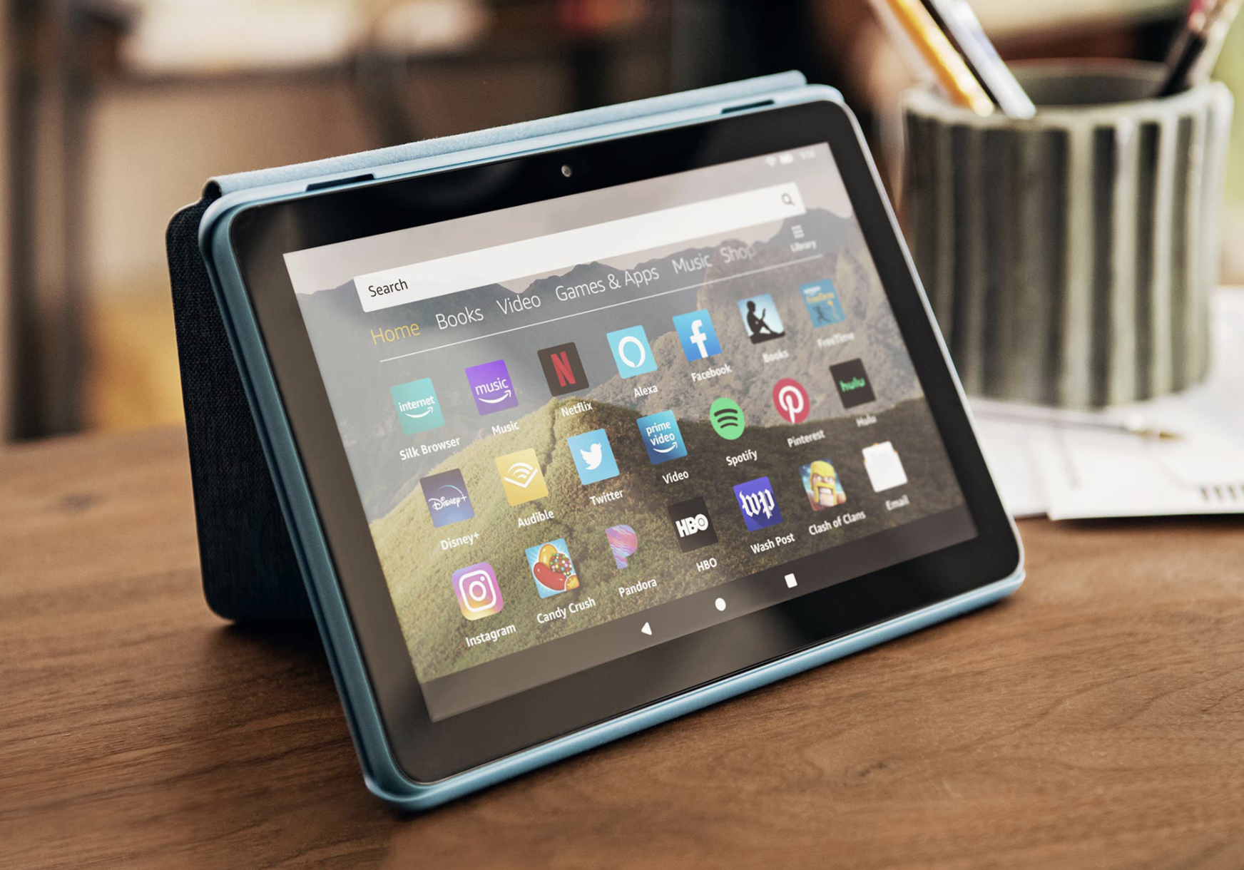 Amazon Fire HD 8 Tablet propped up case