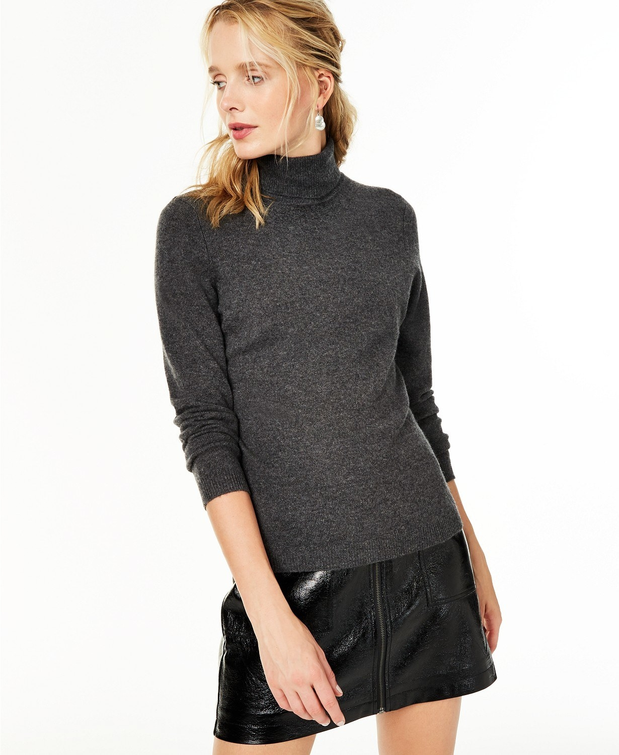 model wearing Charter Club cashmere turtleneck sweater in gray