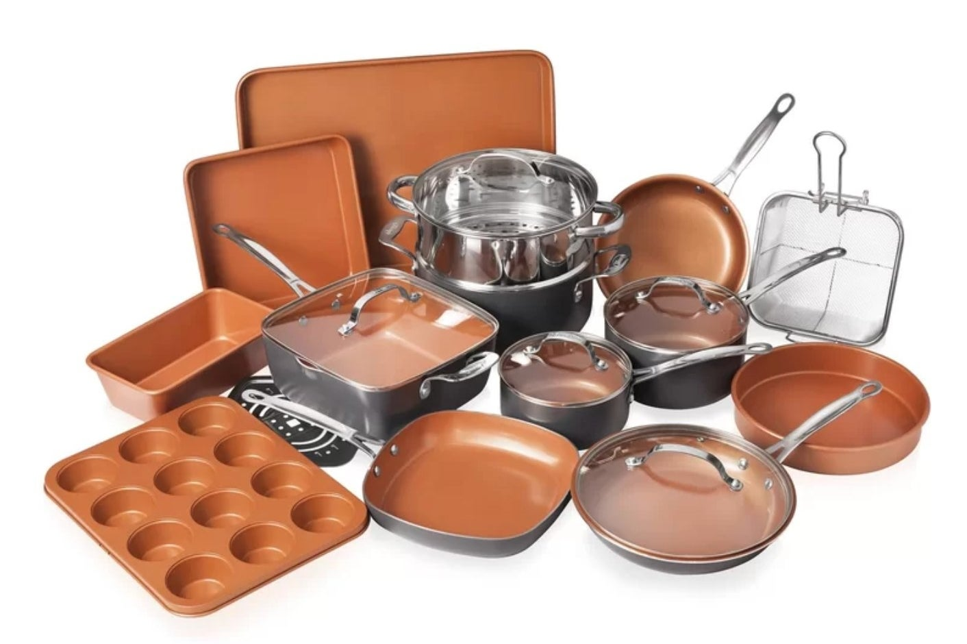 The 20 piece nonstick cookware set in orange and wilver