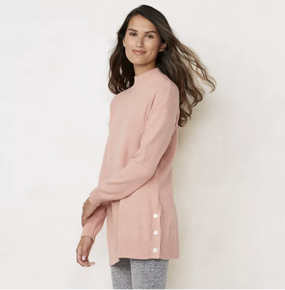 Tunic sweater by LC Lauren Conrad in angelia blush