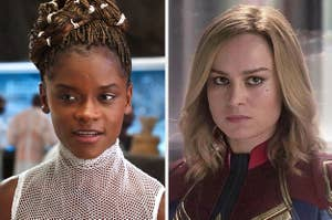 Side by side of Shuri from Black Panther and Captain Marvel