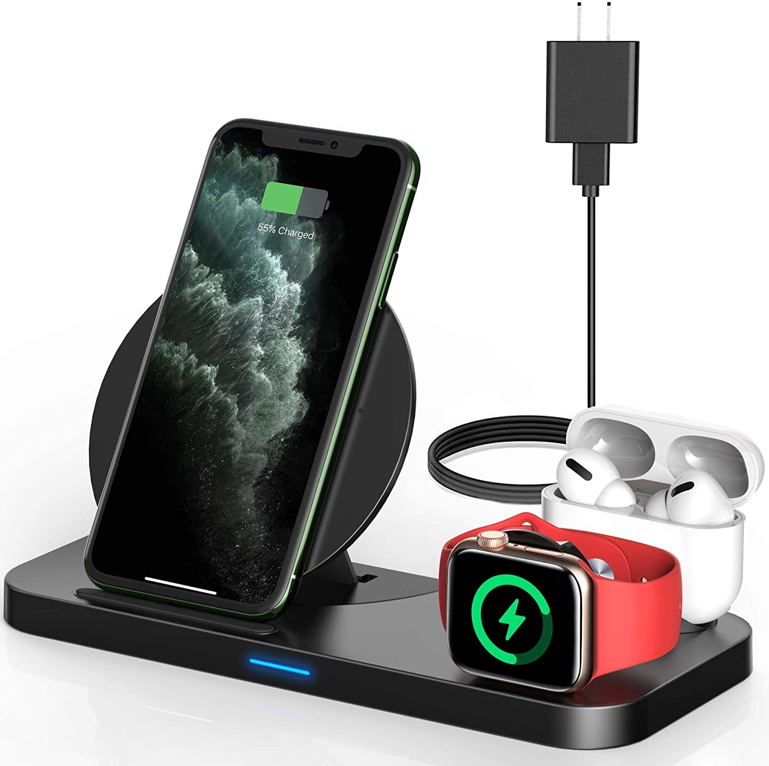 Three-in-one wireless charger with phone, Apple Watch and AirPods